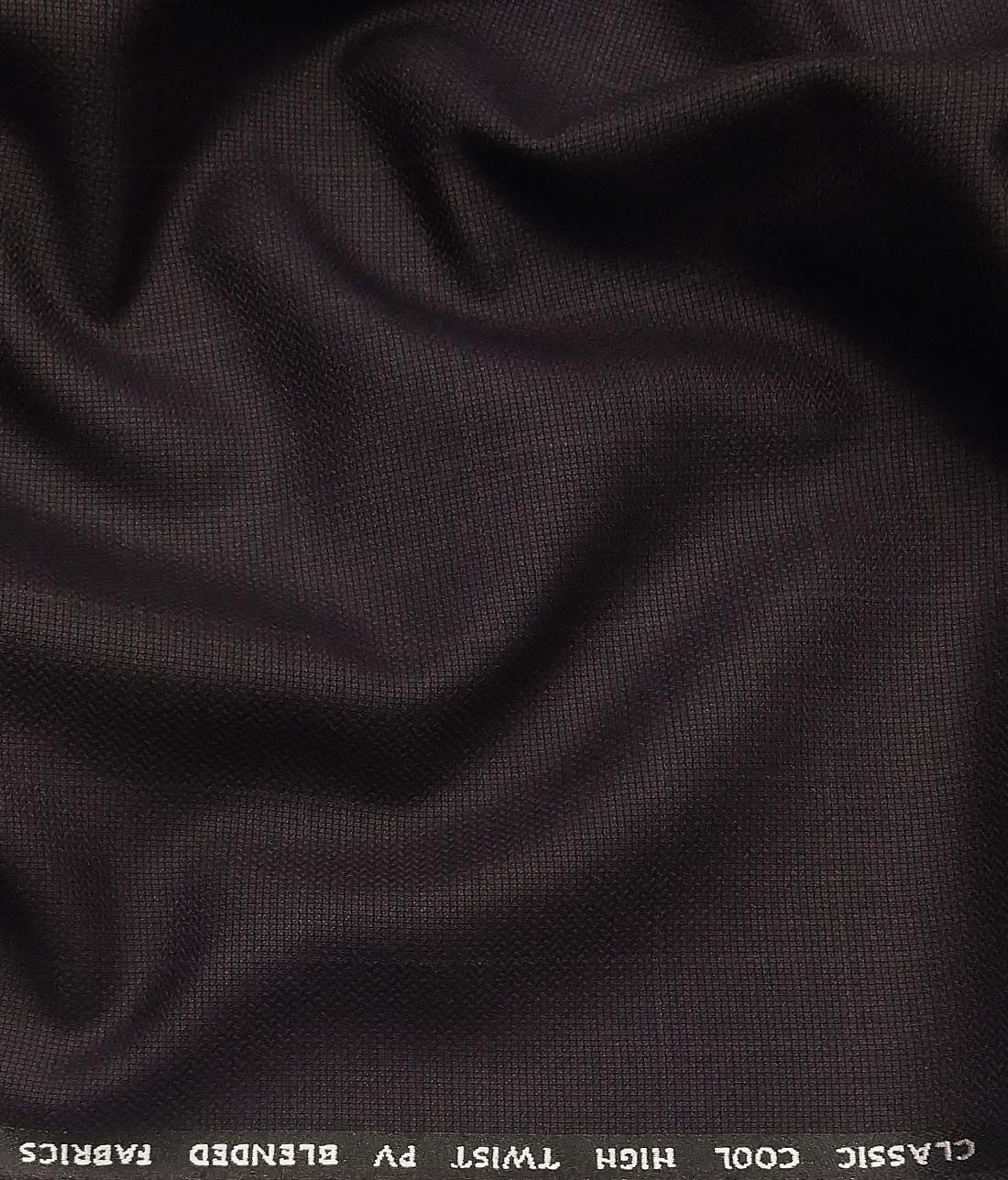 1881f10930a J.Hamsptead by Siyaram s Dark Wined Polyester Viscose Structured Cum Self  Checks Unstitched Suiting Fabric