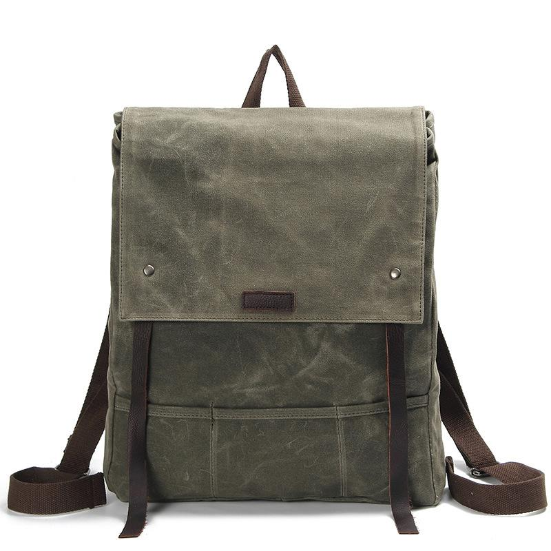 Canvas Leather Backpack Waterproof Rucksack Mens Waxed Canvas Backpack –  icambag 00bc677728