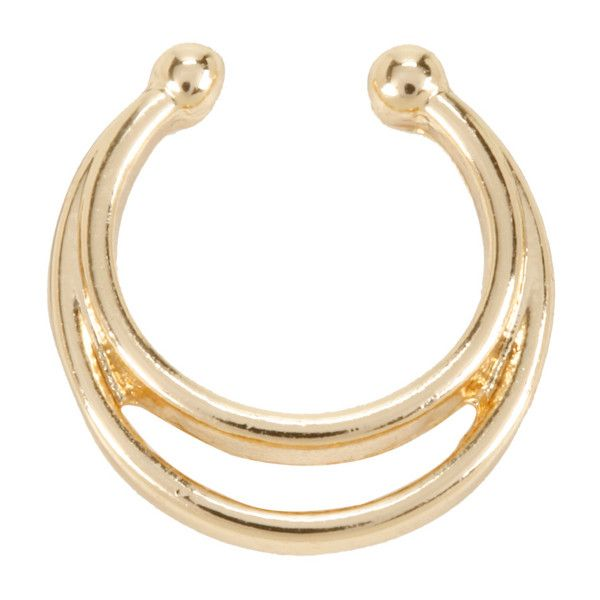 Hot Topic Blackheart Gold Tone Double Layer Faux Septum Ring