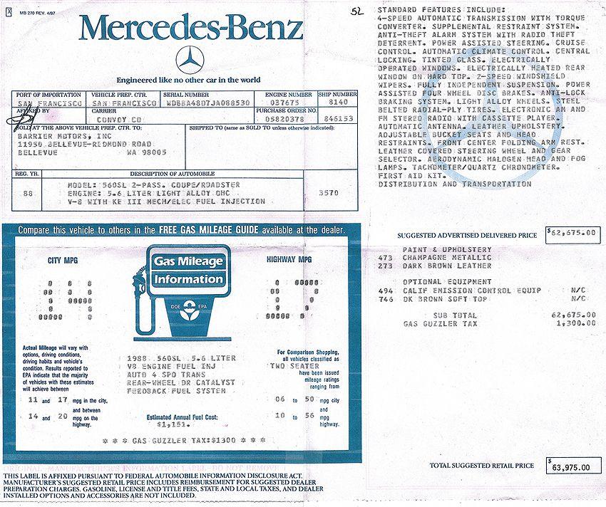 1988 Mercedes 560sl Window Sticker Mercedes Sl Mercedes Mercedes Benz