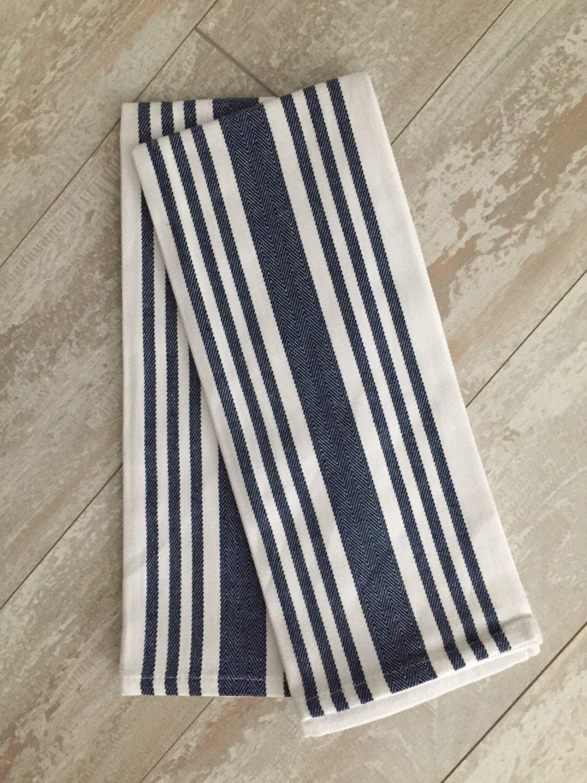 Navy Preppy Stripe Monogrammed Large Kitchen Towel Set Of 2 Tea Towels