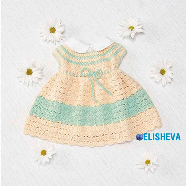 Vestido para niños con un yugo redondo y un patrón de concha de ...