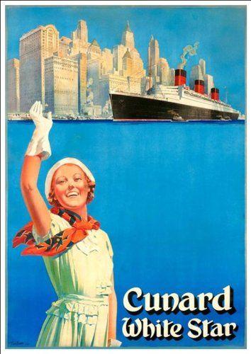 Wonderful A4 Glossy Print - 'Cunard - White Star' Circa 1939 - Taken From A Vintage Travel Poster by Design Artist http://www.amazon.co.uk/dp/B00J1ZHV4I/ref=cm_sw_r_pi_dp_6aYnvb0Q8VNC7