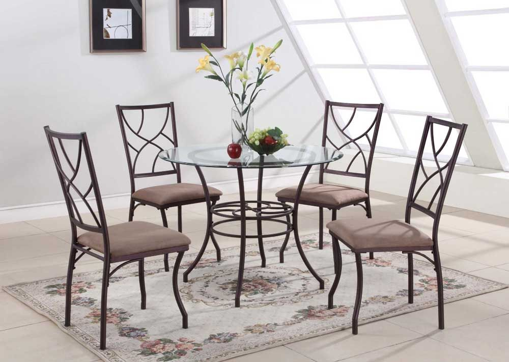 40 Inch Round Gl Dining Table Set With Metal Leg Consumer Reviews