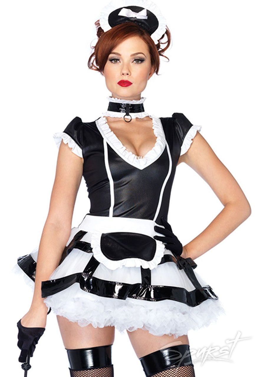 18a6f73bafdc Mistress French Maid Costume - 3-piece Mistress Maid costume includes a  black, wet look apron dress with an attached black cage skirt, ruffle trim,  ...