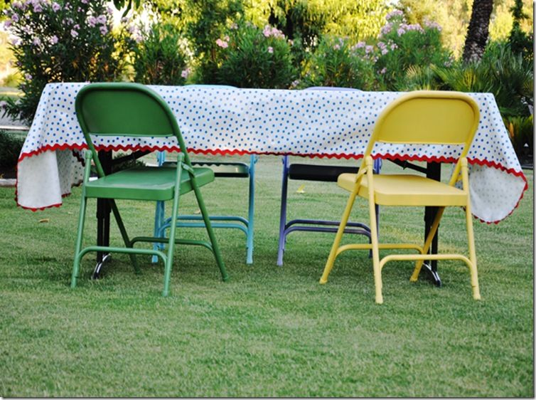 Living With Punks Painted Metal Chairs Oilcloth Tablecloth Metal Chairs