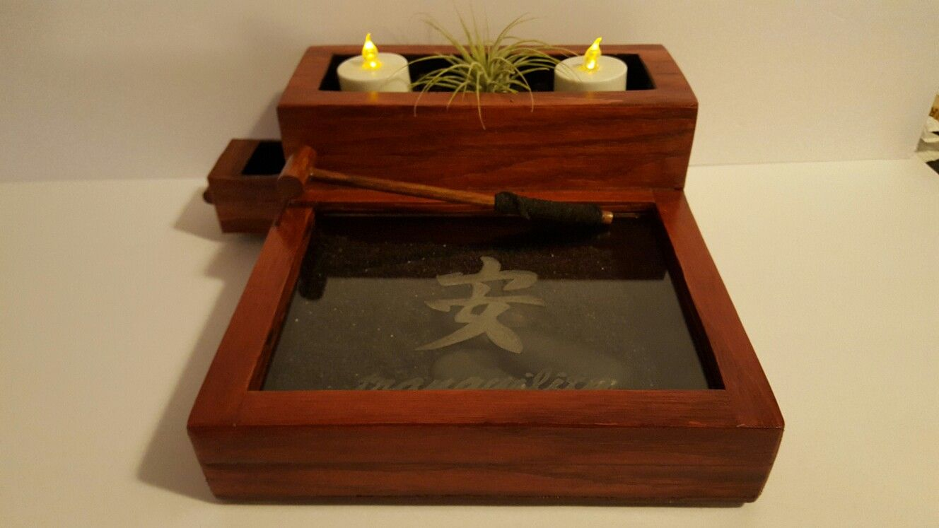 Gorgeous oak and Cedar zen garden with etched Glass Cover. | Lunar ...