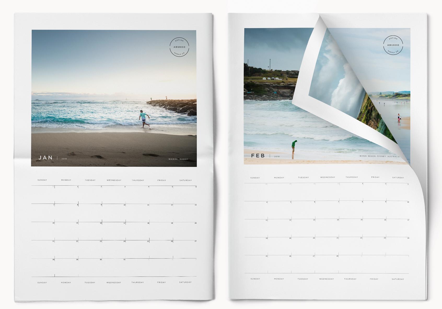 2018 printable photo calendar indesign template. Black Bedroom Furniture Sets. Home Design Ideas