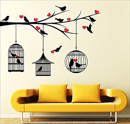 Buy Love Birds With Hearts Multi Color Wall Sticker Wall Art