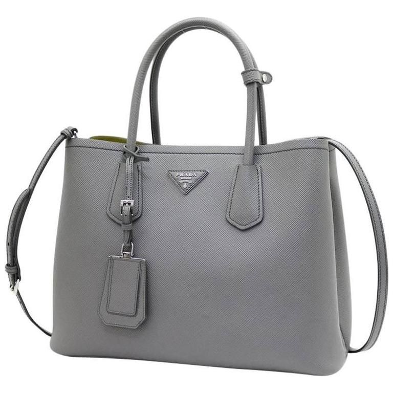 80195620663d Prada Saffiano Cuir Leather Handbag Marmo Salvia Tote Bag | 1stdibs.com