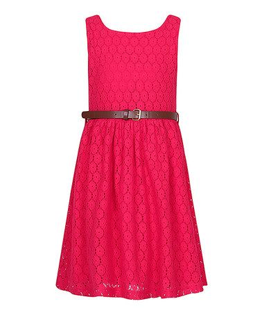 Loving this Red Lace Belted A-Line Dress - Kids & Tween on #zulily! #zulilyfinds