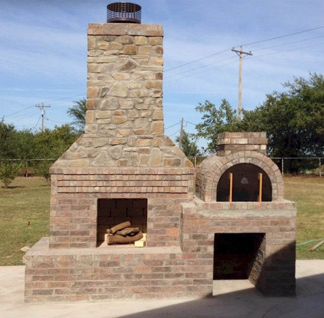 The Wolf Family built this awesome Outdoor Fireplace and Pizza Oven Combo  using a blend of