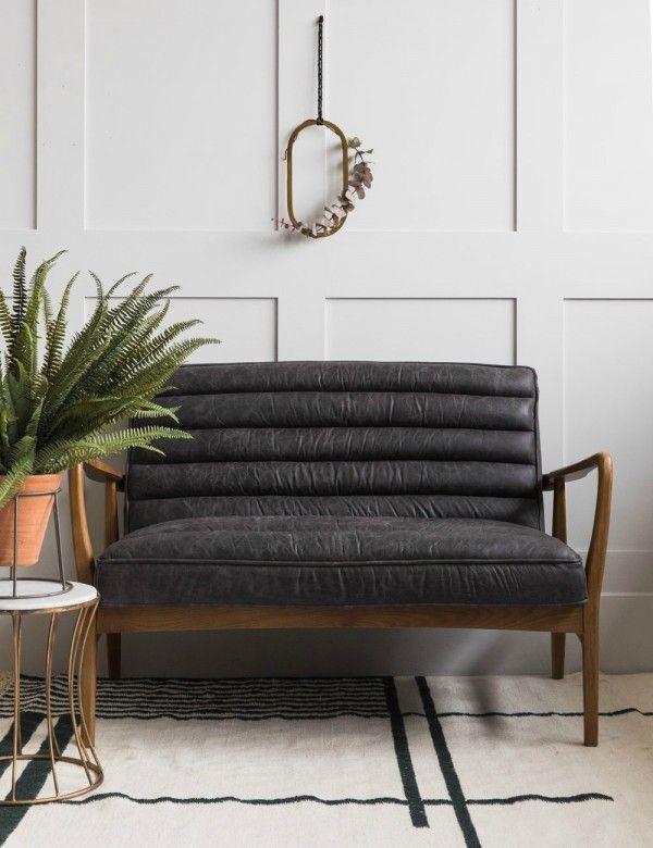 Mid Century Leather Two Seater Black Home Decor Stylish Furniture Retro Sofa