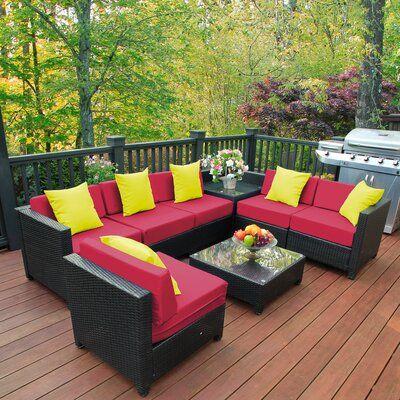 Latitude Run® Mickel Garden Patio 8 Piece Rattan Sectional Seating Group with Cushions | Wayfair