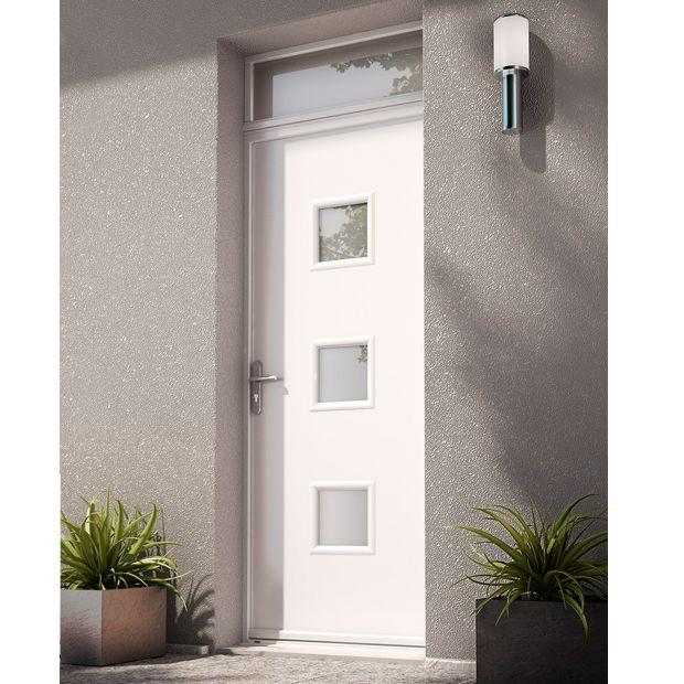Porte d 39 entr e n lia blanc acier porte d 39 entr e id es de porte portes et porte exterieur - Porte d entree bois lapeyre ...