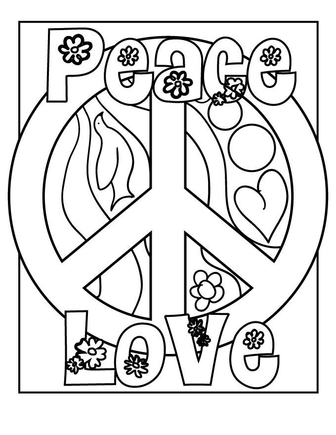 Peace Coloring Pages For Kids Adults And Teens Love Coloring Pages Coloring Pages Flower Coloring Pages