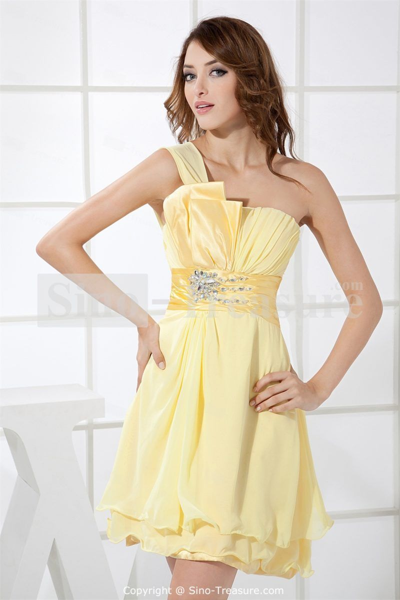 Light Yellow Short Mini One Shoulder Cocktail Dress | Best Yellow ...