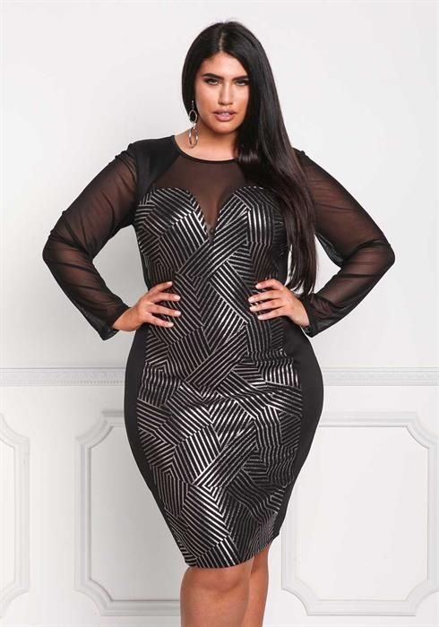 Plus Size Metallic Stripe Mesh Sleeve Bodycon Dress Women Bomb