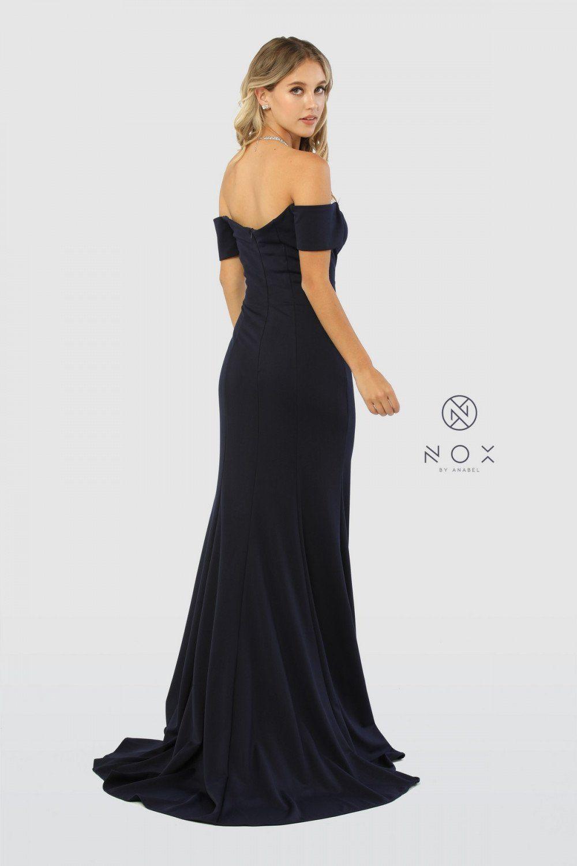 69e30fb9a30de Long Off Shoulder High Slit Formal Prom Dress Evening Gown - The Dress  Outlet Nox Anabel