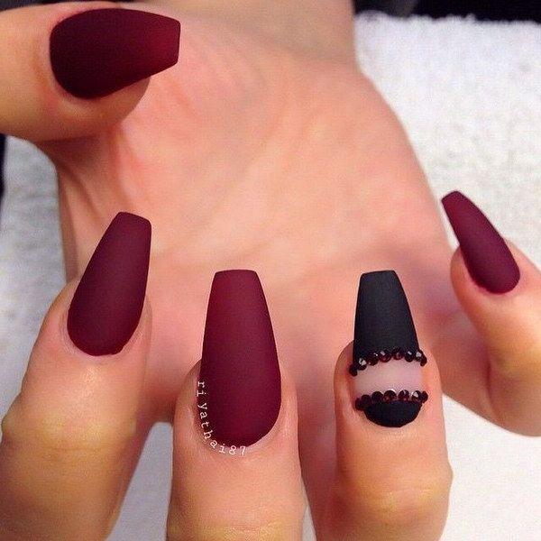 45 Stylish Red And Black Nail Designs 2017 Matte Nails Design Maroon Nails Burgundy Nails