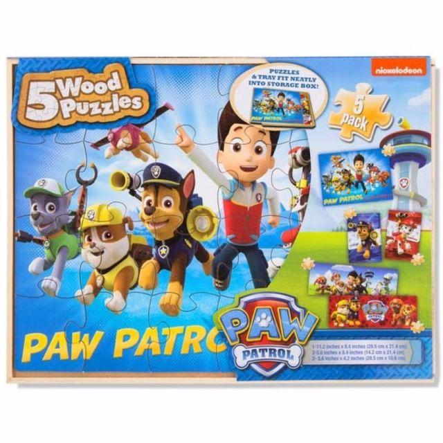 Paw Patrol Kids Toy Organizer Bin Children S Storage Box: Paw Patrol 5 Wood Jigsaw Puzzles In Wood Storage Box In