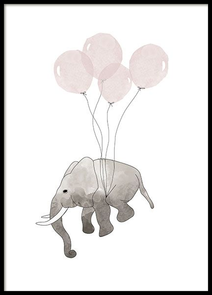 783d2482 Poster with a small elephant flying with pink balloons. A cute, imaginative  illustration that fits perfectly in the children's room.