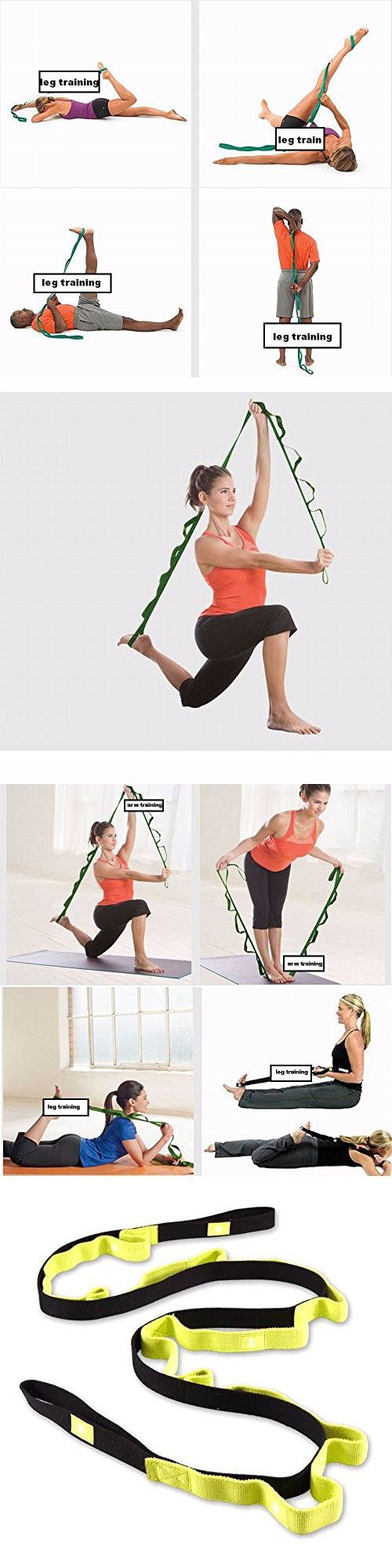 Durable Yoga Strap Green Pink Polyester Stretch Out Strap Pilates