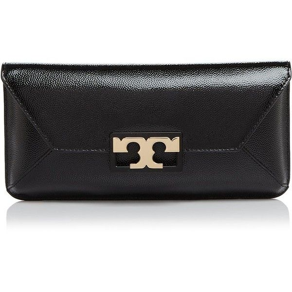 Tory Burch Gigi Patent Clutch ($265) ❤ liked on Polyvore featuring bags, handbags, clutches, black, tory burch handbags, tory burch, tory burch purse, tory burch clutches and patent handbags