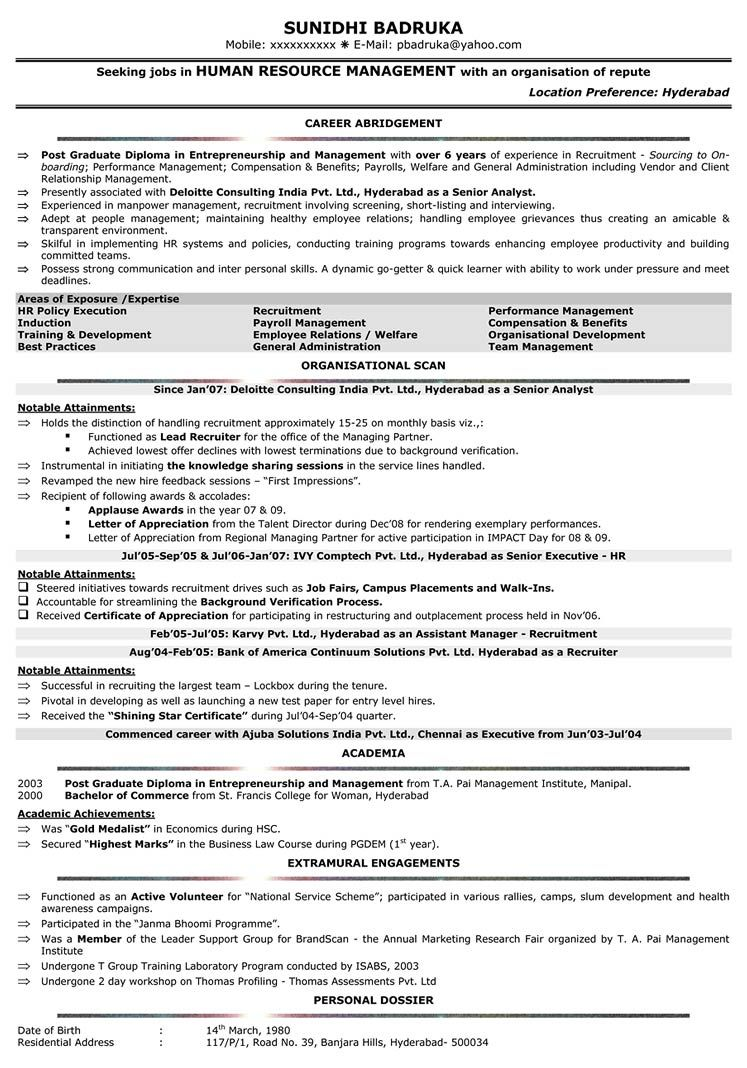 For 4 Years Experience In Hr Sample resume format