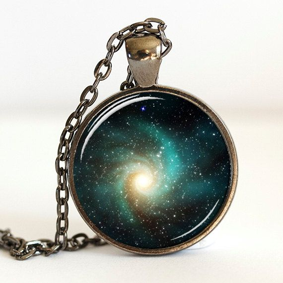 Galaxy Necklace Pendant, Green Outer Space Necklace, Nebula Jewelry (0633)
