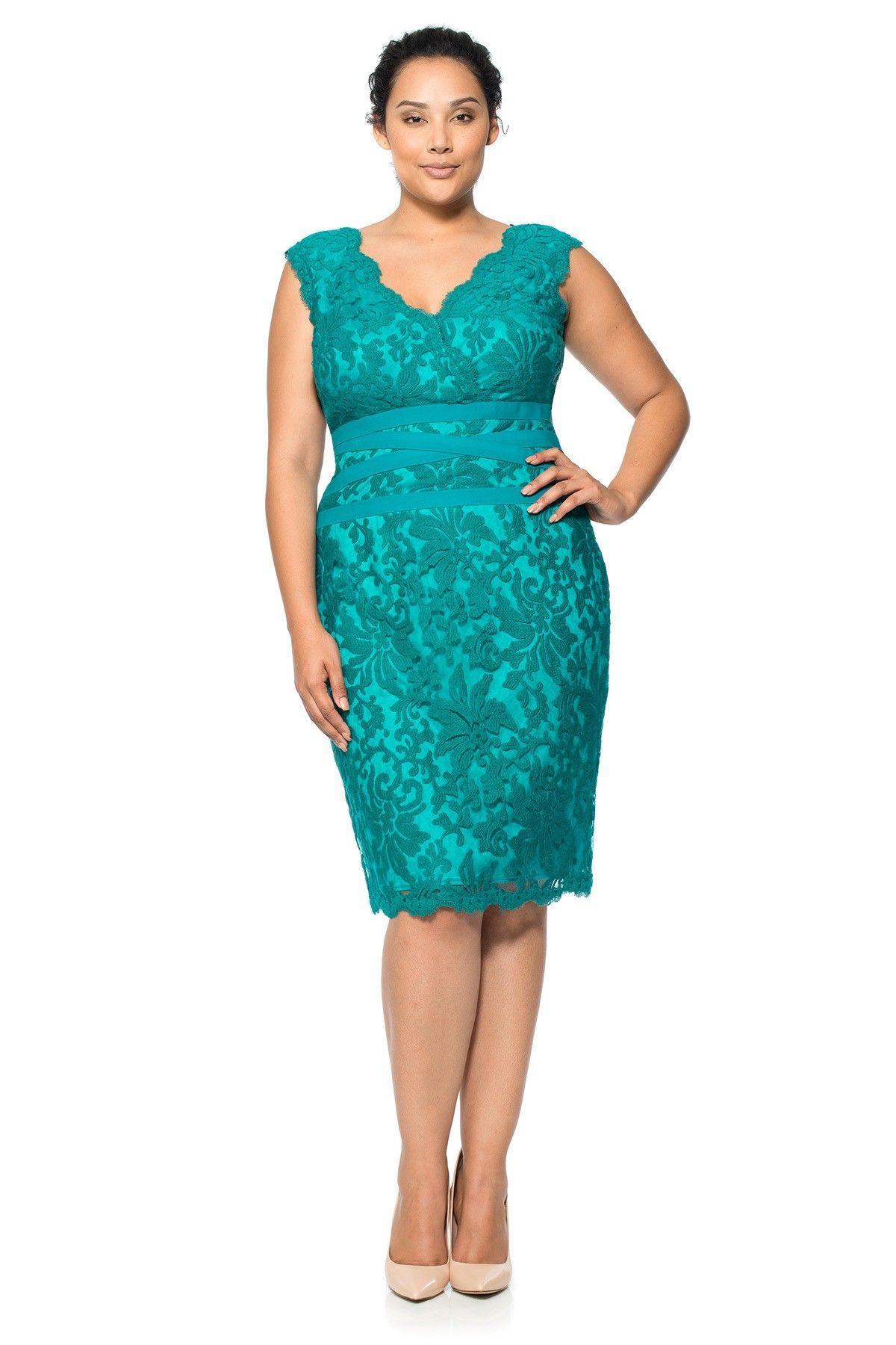 Embroidered Lace V-Neck Dress - PLUS SIZE | Tadashi Shoji | Mary ...