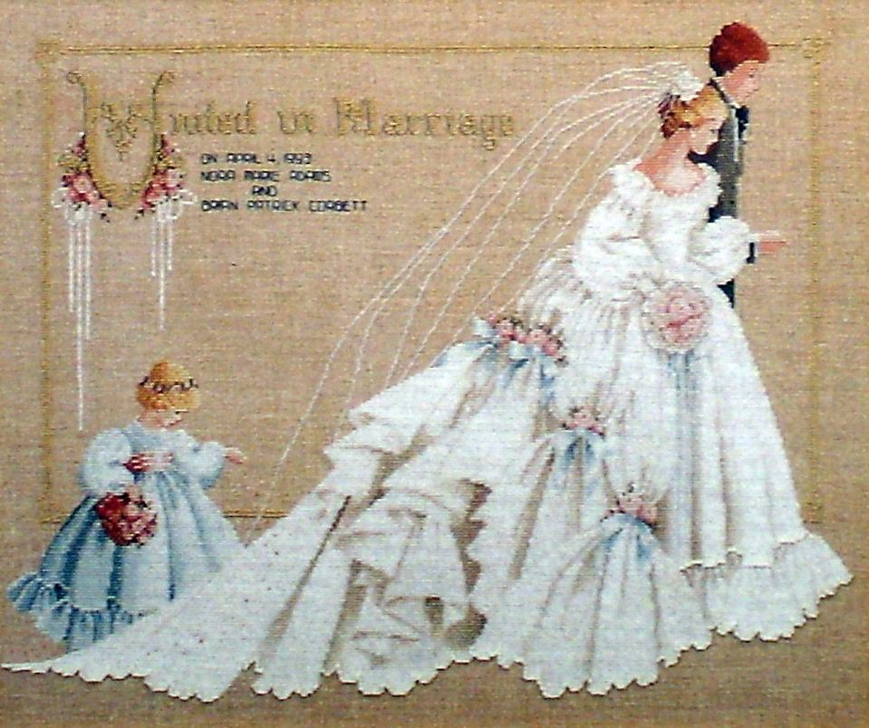 14 count aida needlepoint cross stitch wedding kit with colorful chart R125