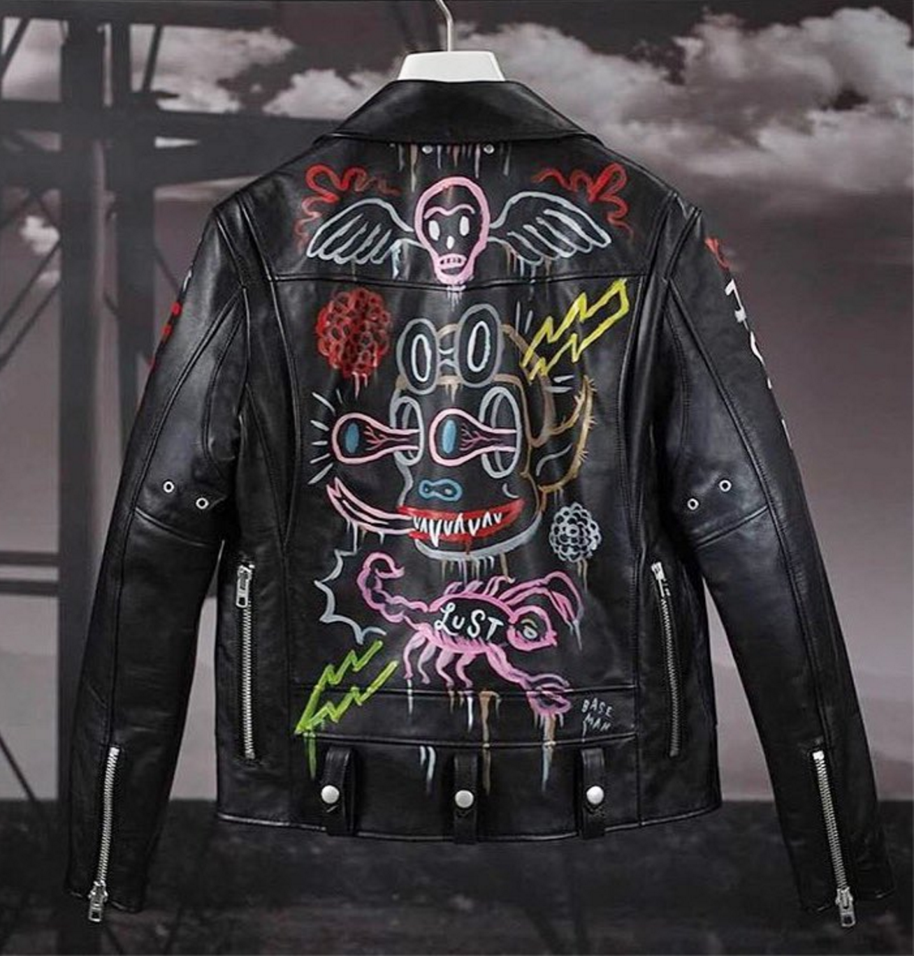 Gary Baseman's incredible hand painted leather jacket for