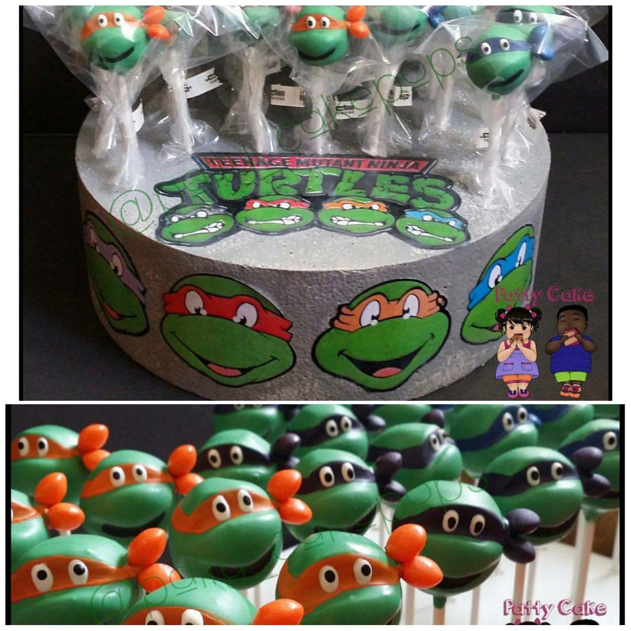 Teenage Mutant Ninja Turtle Cake Pops With Custom Display By Patty Cakepops Mutant Ninja Turtles Cake Teenage Mutant Ninja Turtle Cake Ninja Turtle Cake