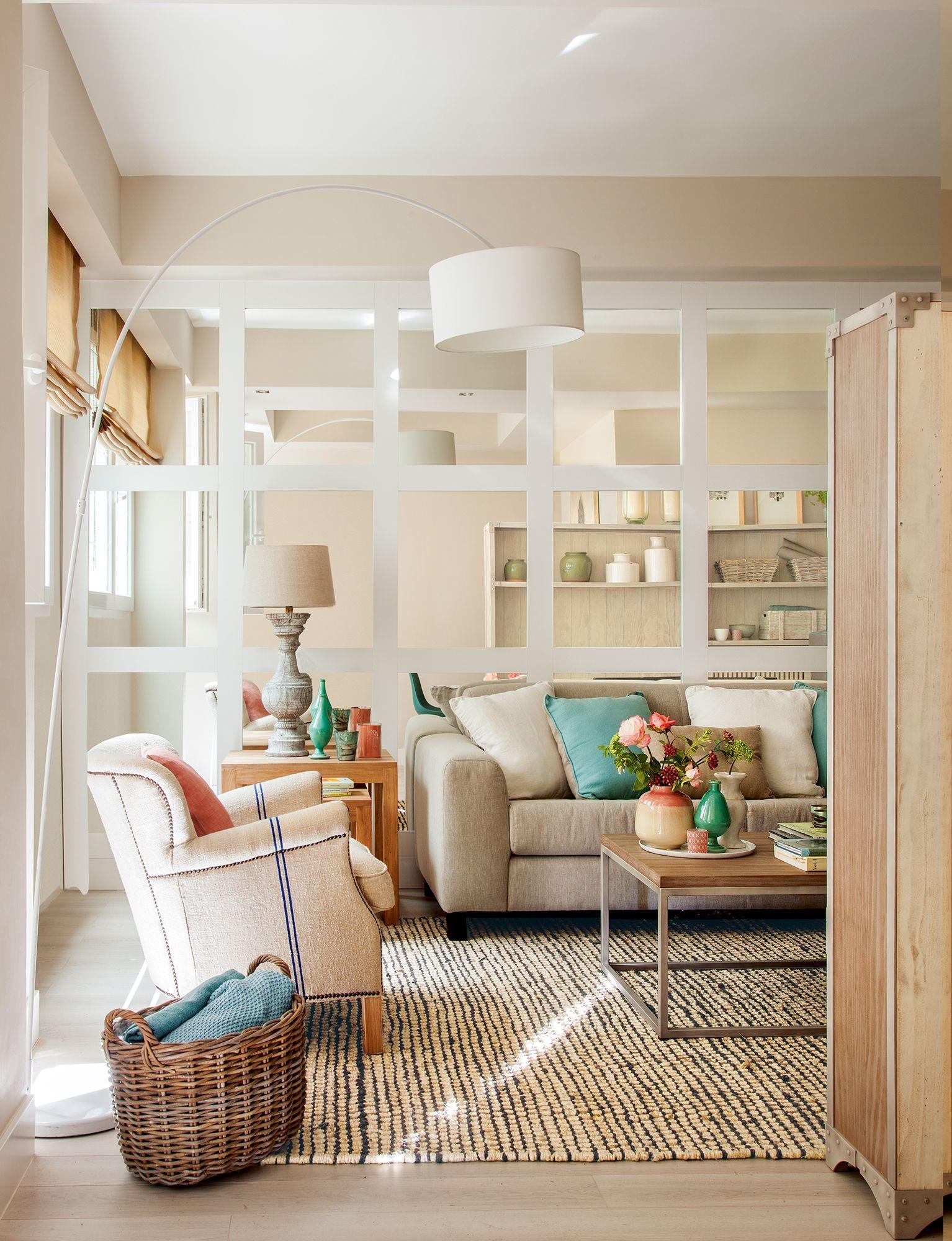 Sal n con pared acristalada de espejo 00409112 pared for Fronda decoracion