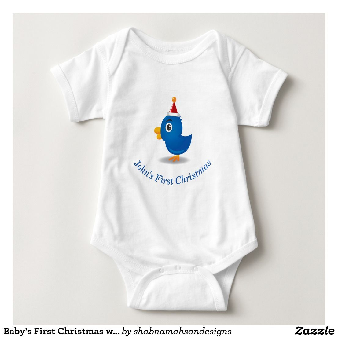 Babyus First Christmas with Cute Birdie Make your childus first