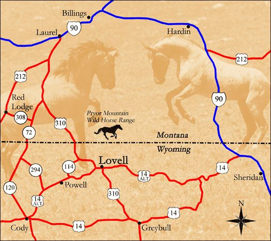 Wild Mustang Center Map Lovell Wyoming 4 hours from Gillette