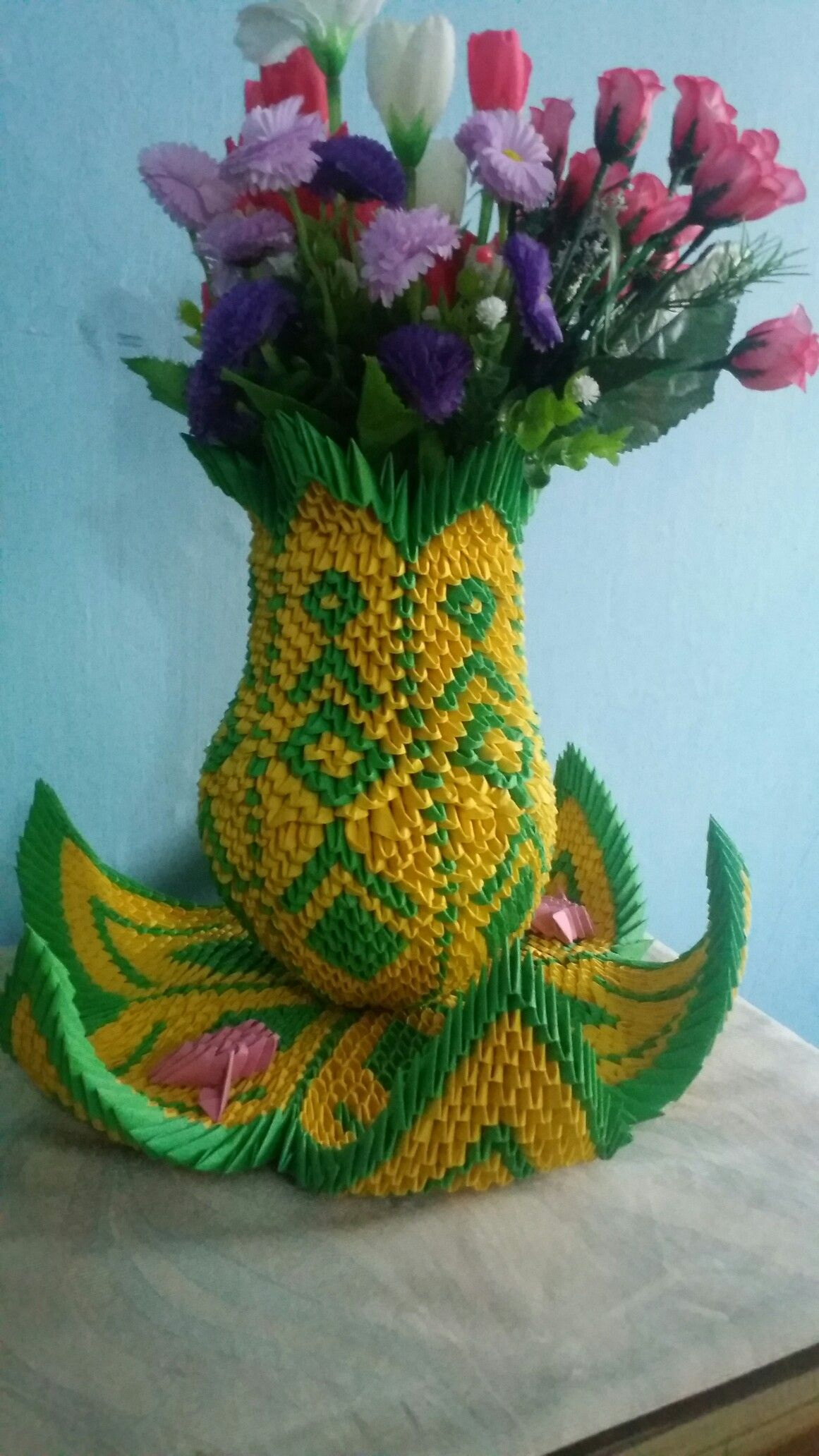 Pin by lavanya y on 3d origami doll and flower vase pinterest 3d origami birds 3d origami flower vases flower pots mightylinksfo
