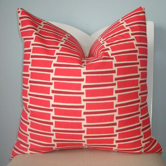 Pink and White Retro Blocks Geometric Pillow Cover 20 x 20