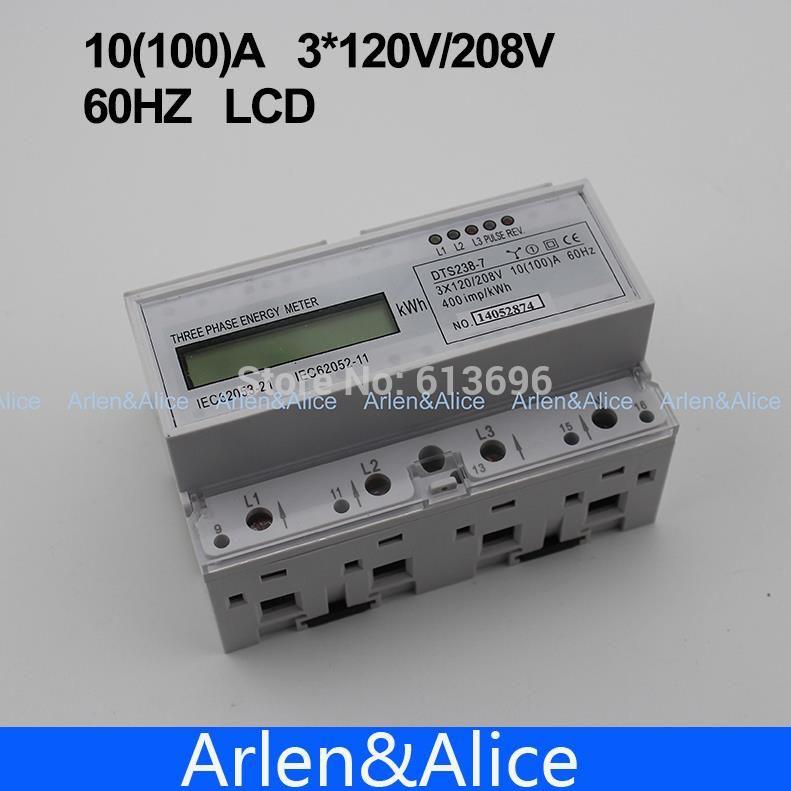 A 2*120V//208V 60HZ 2 phase 3 wire Din rail KWH Watt hour energy meter LCD 100 10