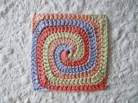 Спиральный квадрат Coiled square - YouTube | Granny Square | Pinterest
