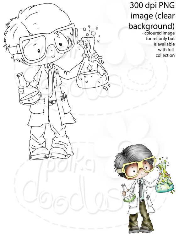 Geek/nerd/Science/Inventor - Digital Stamp download   dibujos ...