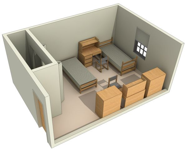 Typical Layout of a Double Room in the Dorms Dorm room