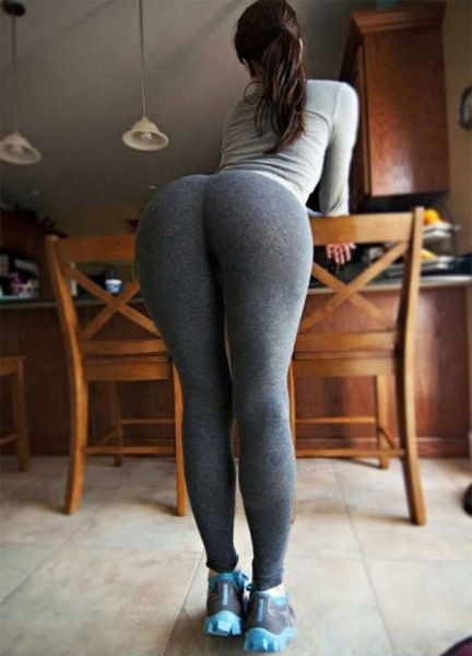 That Girls in yoga pants bent over ass above