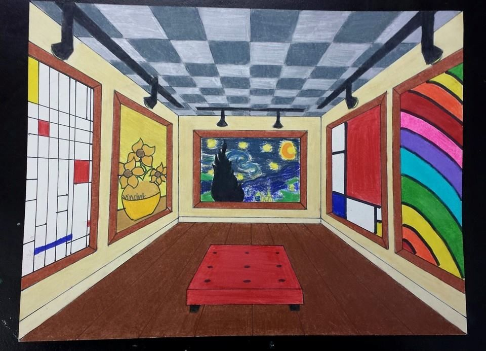 One point perspective museum interior art teacher michele for Interior design lesson plans for middle school