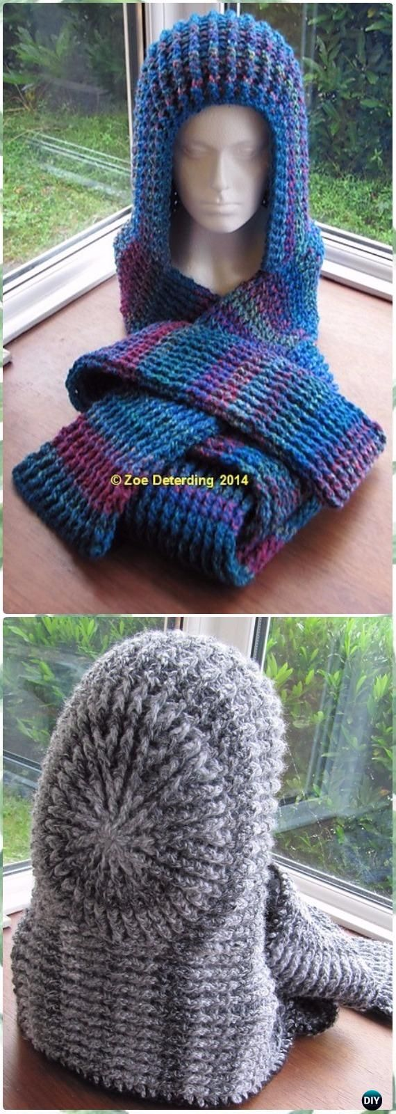 Crochet Chunky Ribbed Scoodie Free Pattern - Crochet Hoodie Scarf ...