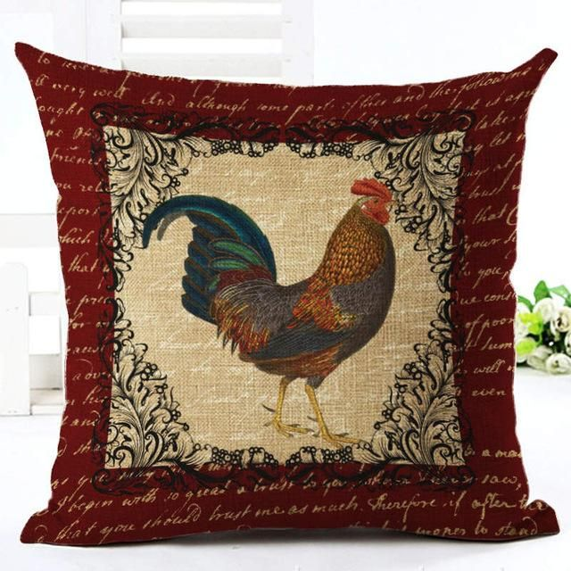French Country Rooster Art Linen Blend Decorative Throw Pillow Cushion Cover