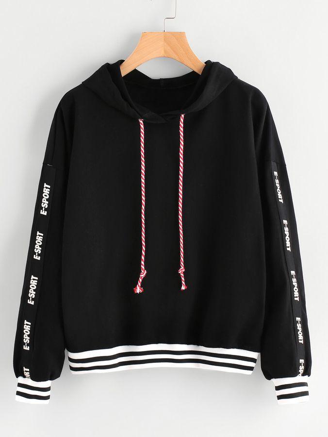 b59cba98ac Shein Patch Sleeve Striped Trim Hoodie   Products   Sweatshirts, Hoodies