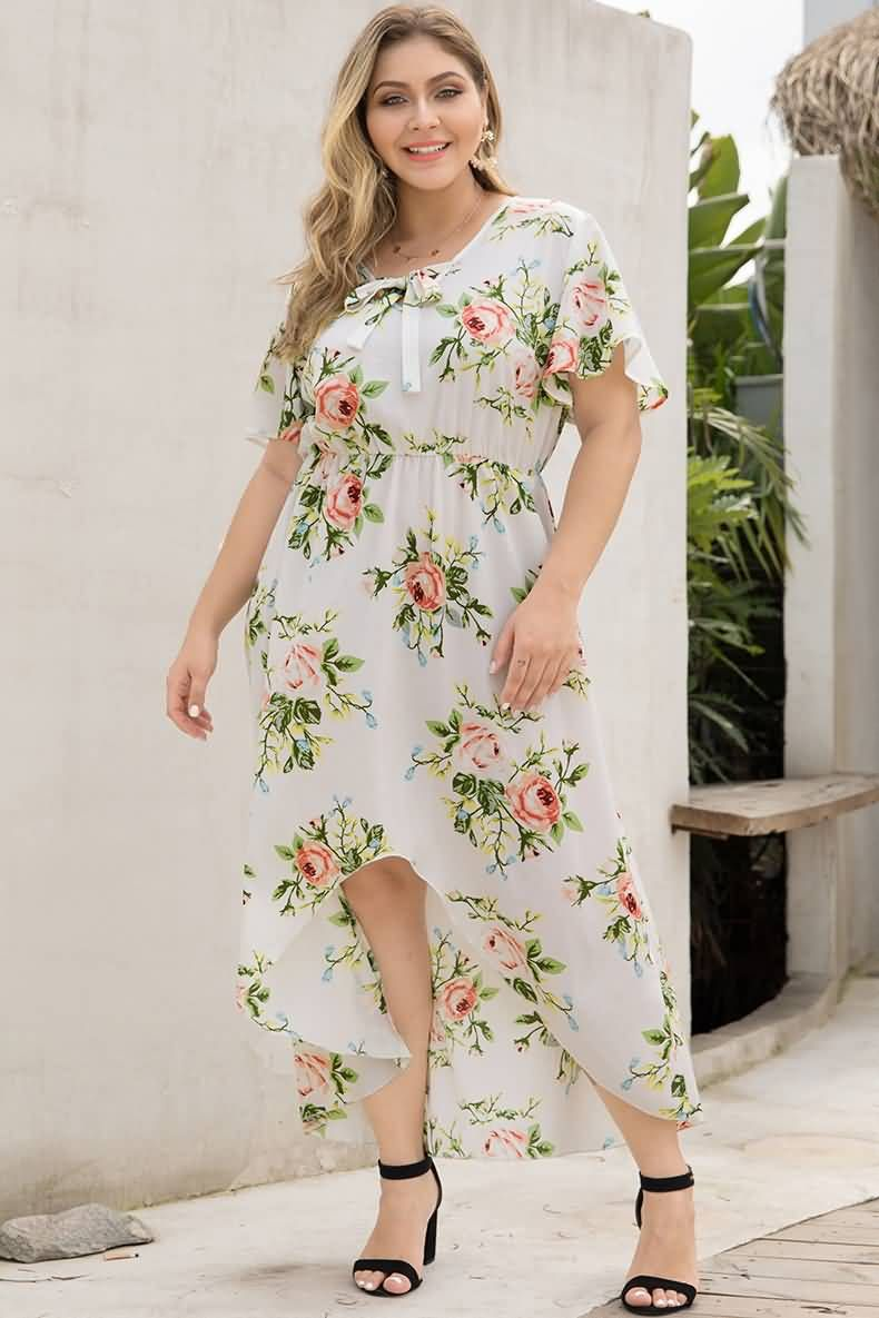 White Floral Print Swallowtail Casual High Low Plus Size Dress Plus Size Beach Dresses Plus Size Dress White Plus Size Dresses [ 1185 x 790 Pixel ]