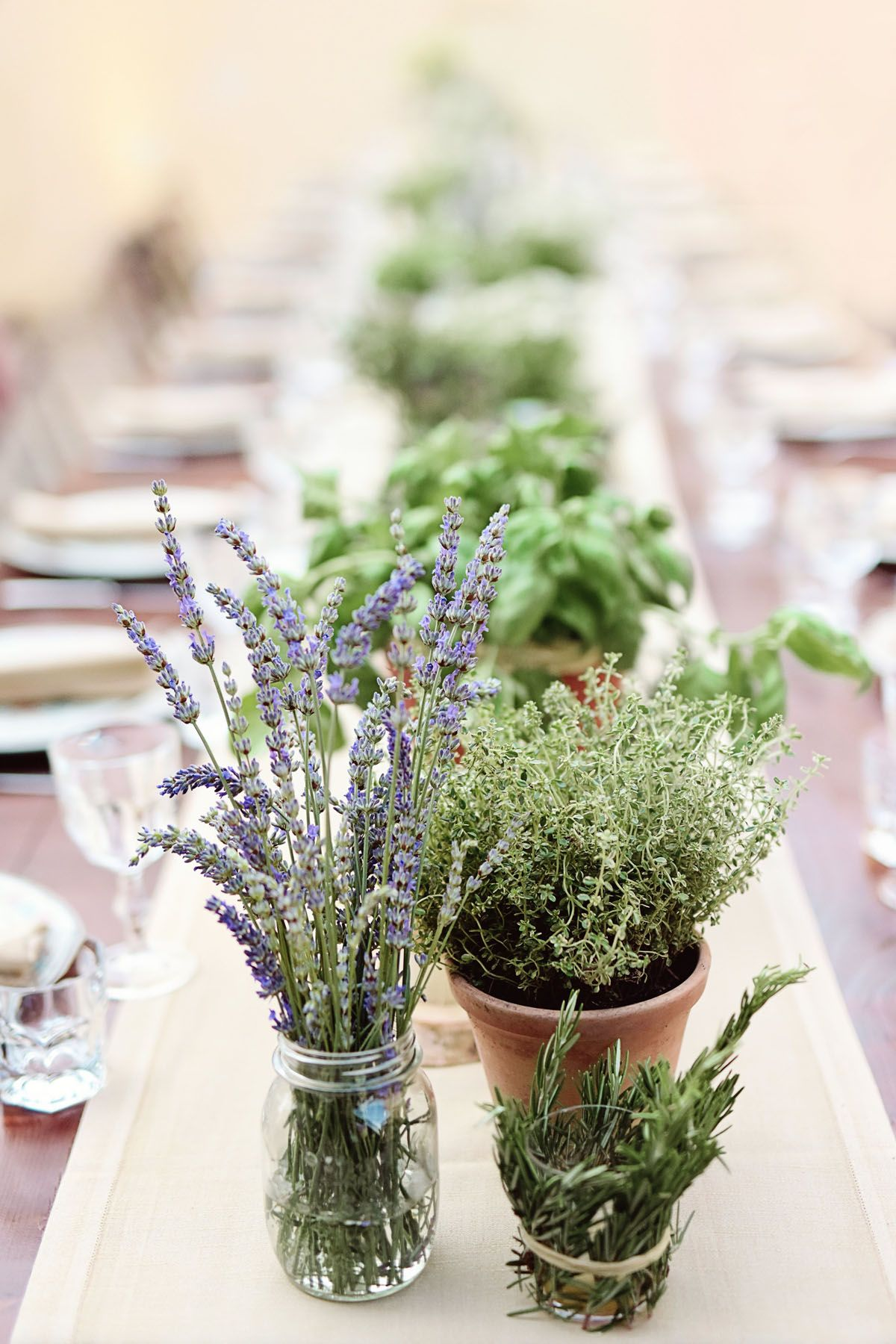 Aromatic herbs and lavender for rustic table decor